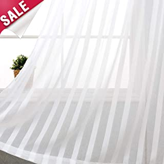 Striped Sheer Curtains for Bedroom White Voile Curtain for Living Room 72 inch Length Rod Pocket Curtain Panels 1 Pair Drapes