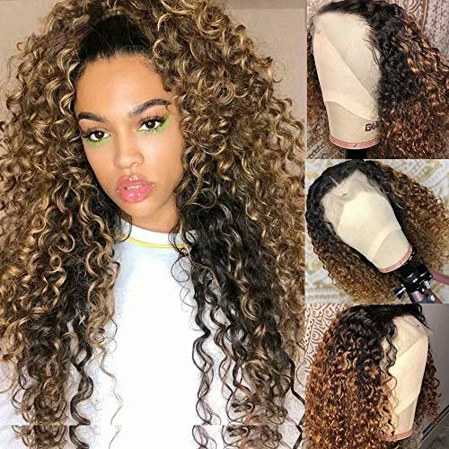 Ten Chopsticks Hair Kinky Curly 4T/27 HD Transparent 13x6 Lace Frontal Human Hair Wigs Honey Blonde Lace Front Deep Wave Wig Brown Curly Wig 180 Density Pre Plucked Natural Hairline 20Inch