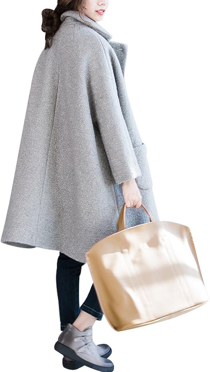 Youlee Damen Winter Falten Kragen zweireihigen Mantel Wollmantel Grau