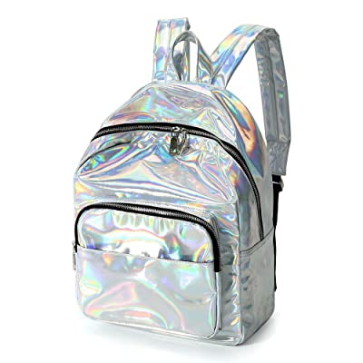 Zicac Girl's Sliver Holographic Laser Leather B...