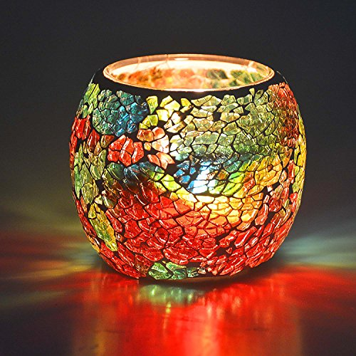 Scented Candle Holder Mosaic Glass Tea Light Holder,Handmade Romantic Glass Tealight Candle Holder for Aromatherapy,Party Décor(NO Candles),Also Used as Vase,Pen Holder,Potted Plants Bowl (Rainbow)