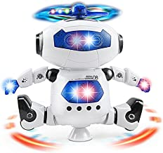 Electronic Walking Dancing Robot Toy for Kids, Flashing Lights, 360° Body Spinning, Toddlers Bosys Girls Fun Toy Figure