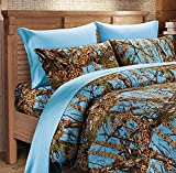 Rirostisale for your pleasure Powder Blue CAMO Sheet Set!! Queen Size Bedding 6 PC Camouflage Light Sky Blue | Edredones | Comforters | Blanket