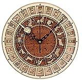 Unbekannt Vintage Runde Dekorative Wanduhr Prag Astronomische Hölzerne Uhr Stumm Quarz Wanduhr Dekorative Wanduhr Astronomische Konstellation Uhr Kunst Geschenk