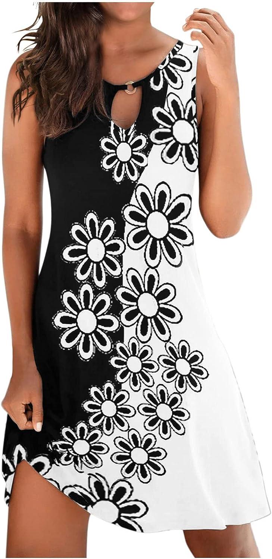 Hemlock Women Sleeveless Dress Summer Printed Maxi Dress Slim A-Line Dress Floral Sundress Knee Length Beach Dress