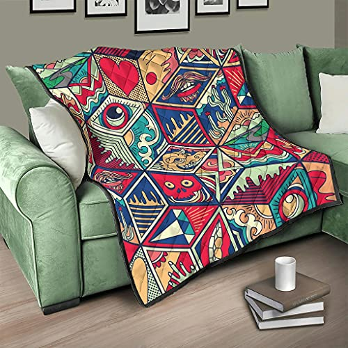 Colcha con diseño de ojos de colores, manta 3D digital, sofá blanco, 200 x 230 cm