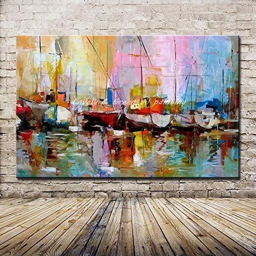 Gbwzz Quadri Senza Cornice 100% Dipinti a Mano Dipinti ad Olio Astratti Moderni su Tela Wall Art per la Decorazione Domestica,80x120cm 32x48inch