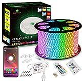 30m LED Strip, GreenSun RGB LED Lichtband Bluetooth oder Fernbedienung kontrolle Lichterkette Wasserdicht Lichtleiste für Garten Haus Weihnachten Deko