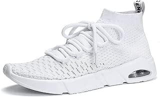 Happy-L Shoes, Men's Super Light Non-Slip Athletic Shoes Flat Heel Lace up Solid Color Leisure Sport Shoes
