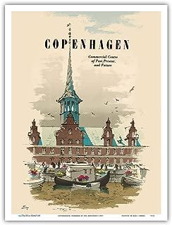 Copenhagen, Denmark - Commercial Center of Past, Present & Future - Old Stock Exchange Building - Vintage World Travel Poster by Des Asmussen c.1957 - Master Art Print - 9in x 12in