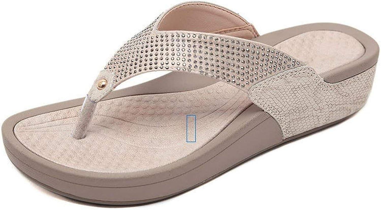 Tiwcer Wedges Slipper Women Platform Comfortable Flip-Flops Summer Casual Rhinestone Crystal Mules Slides Sandals