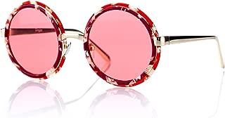 PINGLAS Retro Round Sunglasses For Women, Steampunk Acetate Frame Oversized Coating Lens, UV400