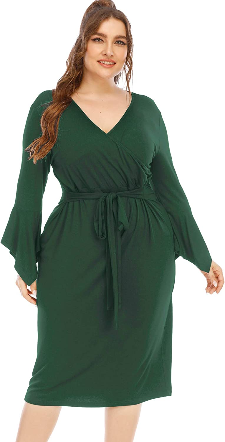 Tinkomu Womens Plus Size Bell Sleeve Wrap V Neck Shift Pencil Dress Knee Length with Ties in Waist for Business Office Work