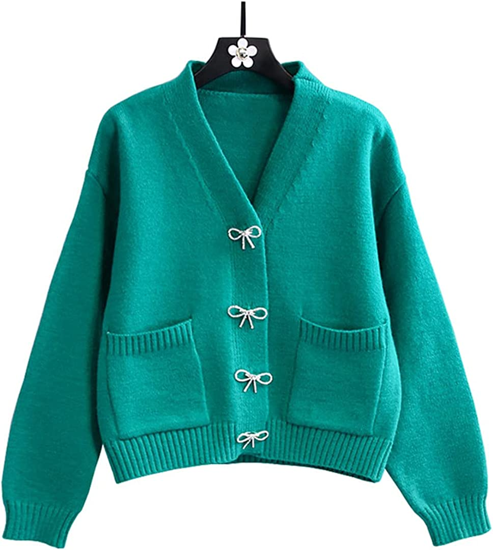 Autumn V Neck Women Sweater Cardigan Buttons Loose Knitted Cardigan Jacket Chic Soft Knitwear Top