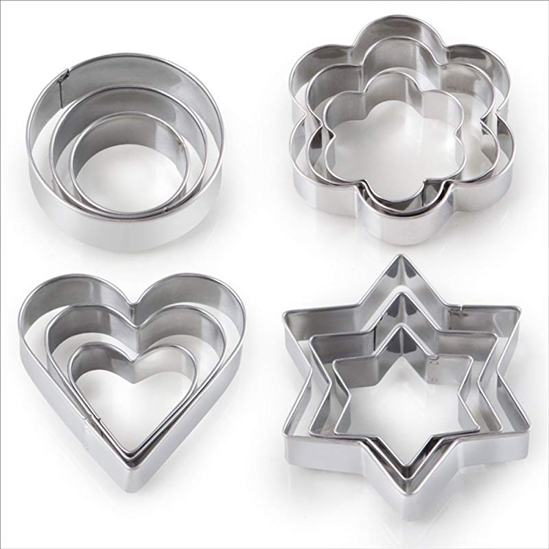 12PCS Cookie Cutter Shape For Kitchen Dining 3 Stars 3 Flowers 3 Round 3 Hearts Shape Mini Metal Geometric Vegetable Fruit Biscuit Mold Set Kids Easter For Baking Halloween Christmas