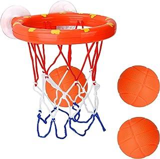 DEWEL Juguetes de Baño Bebe Pelota de Baloncesto para niños con Ventosa Fuerte Fácil de Instalar con 3 Pelotas y Inflador Canasta Baloncesto Infantil