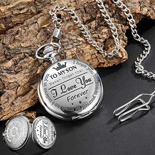 MingXinJia Relojes de Cabecera para el Hogar Reloj de Bolsillo Vintage, para Regalo Infantil Relojes de Bolsillo para Hombre a Mi Hijo Te Amo Chicas Niños Presente Reloj de Bolsillo de Cuarzo