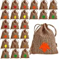 24 Sets Natural Burlap Favor Bags Fall Leaf Print Hessian Favour Bags Rustic Wedding Gift Bags Mini Drawstring Bags Goodie Bags Treat Bags Kids Candy Bags for Autumn Thanksgiving Showers Party Decor