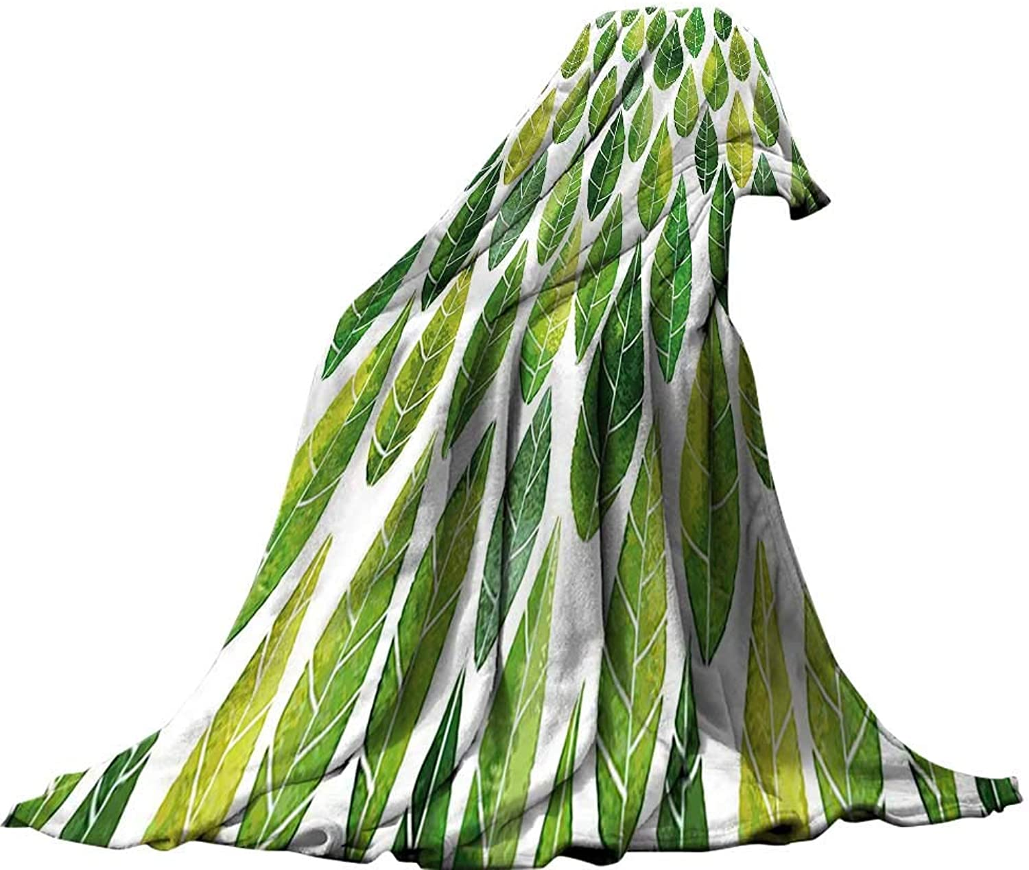 QINYAN-Home Soft Travel Blanket(60 x60 ) Summer Quilt Comforter Green Decor Watercolor Forest Leaves Abstract Image in Order Art Print Forest Green and Light Green.