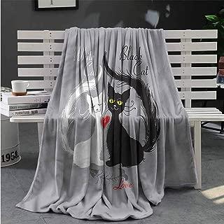 nooweihome Cat Plush Weave Blanket Lovely Couple Fishbone Four Seasons Blanket 70