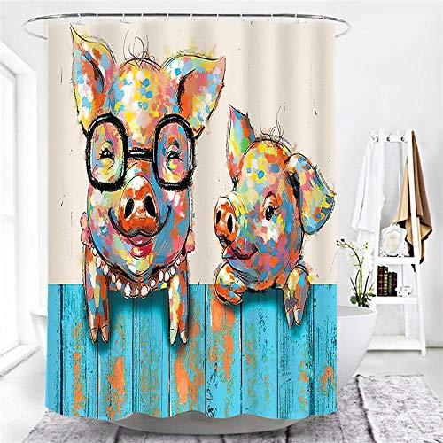 lxianghao Duschvorhangs Polyester Stoff Schwein Cartoon Tier Mit Haken Für Duschvorhang Duschvorhang Textil 80 X 180 cm
