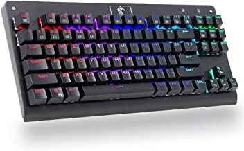Granvela MechanicalEagle Z-77 Multicolor Backlit Mechanical Keyboard Tenkeyless Wired Gaming Keyboard with Blue Switches - DIY Replaceable Switches - Black