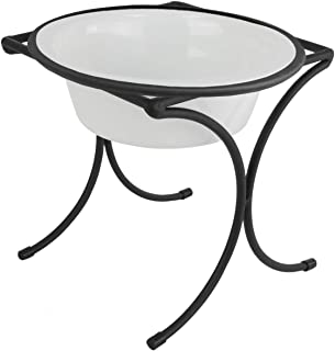 Platinum Pets 4 Cup Bistro Single Raised Feeder with Stainless Steel Wide Rimmed Bowl, Pearl White