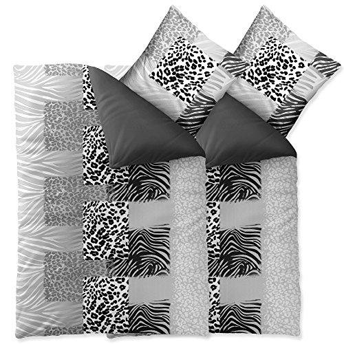 aqua-textil Trend Bettwäsche 135x200 cm 4tlg. Baumwolle Bettbezug Leotine Afrika Leopard Grau Weiß Schwarz