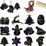 48 Stück Kratzbilder für Kinder, Weihnachten Kratzpapier,Weihnachten Kratzbilder Set für Kinder Regenbogen Kratzpapier Set,für Weihnachten Weihnachtsbaum Deko(A)