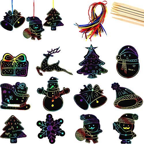 WELLXUNK 48PCS Noël Carte à Gratter,Noël Dessin Gratter,Noël Scratch Paper,48 Feuilles à Gratter Papier,48 Pièces Rubans Colorés,12 Pièces Stylet en Bois,pour Fourniture Enfants Fête Noël (B)