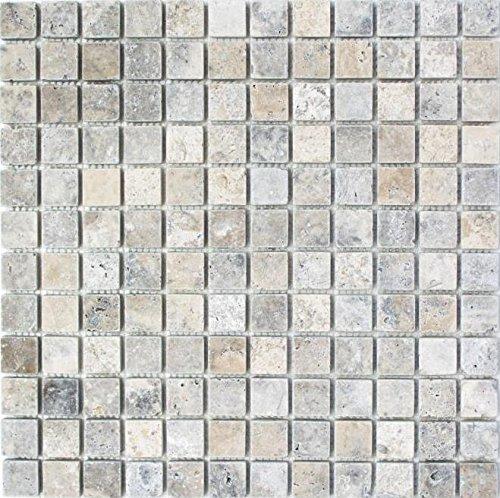 Mosaik Fliese Travertin Naturstein weißgrau silber Antique Travertin für BODEN WAND BAD WC DUSCHE KÜCHE FLIESENSPIEGEL THEKENVERKLEIDUNG BADEWANNENVERKLEIDUNG Mosaikmatte Mosaikplatte