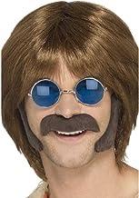 Smiffy's-48098 Kit disfraz de hippie, castaño, con patillas y bigote, color marrón, No es applicable (48098) , color/modelo surtido