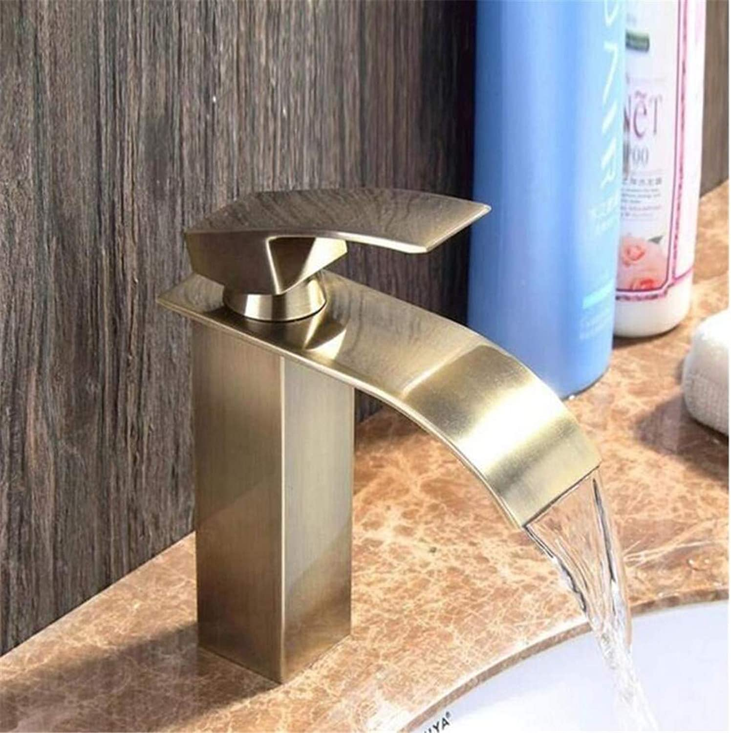 Faucet Luxury Plated Modern Faucet Faucet Washbasin Mixerbathroom Faucet Waterfall Tap Antique Brass Mounted Basin Waterfall Faucet