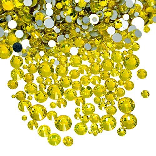 AD Beads 1440 Pieces Mixed Size No Hotfix Glue on Quality Glass Flatback Rhinestones Round Crystal Gems ( 21 Citrine )
