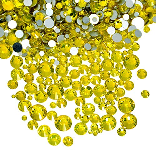 AD Beads 1440 Pieces Mixed Size No Hotfix Glue on Quality Glass Flatback Rhinestones Round Crystal Gems (Citrine )