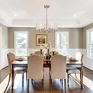 """Alice House 18.1"""" Dining Room Chandeliers, Brushed Nickel Contemporary Light Fixture for Foyer, Entrance and Living Room"""