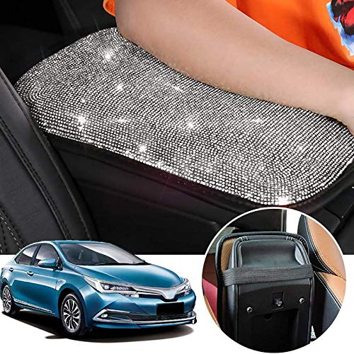 OMNFAS Bling Car Armrest Cover Cute Charming Auto Center Console Protective Cover Luster Crystal Rhinestone Car Arm Rest Cushion Pad Bling Car Interior Accessory for Women Girl (Silver)12.2 x 8.7 Inch