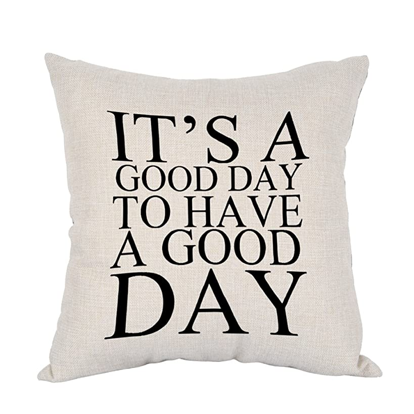 Moslion Good Day Pillow,Home Decor Throw Pillow Cover Its a Good Day To Have a Good Day Cotton Linen Cushion for Couch/Sofa/Bedroom/Livingroom/Kitchen/Car 18 x 18 inch Square Pillow case