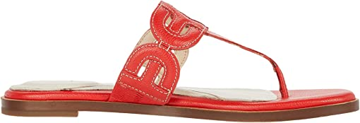 Flame Scarlet Tumble Leather Natural Stitch/Dark Natural