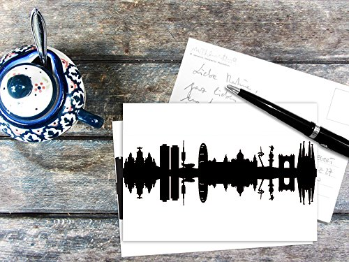 44spaces Postkarte mit schwarzer Barcelona - Silhouette - City Skyline Postcards