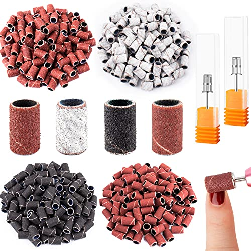 402 Pieces Professional Electric Nail Sanding Bands with Nail Drill Bits Set,Include 400 Pieces Nail Art Sanding Bands 80#120#180#240#,2 Pieces 3/32 Inch Nail Drill Bits for Manicures and Pedicures
