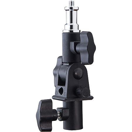 WELLMAKING U-Shape Camera Flash 180°Swivel Mount Bracket with Standard 1/4 to 3/8 inch Metal Male Screw Spigot Stud Compatible for Umbrella Softbox Reflector Holder Stand for Video Light Studio Light