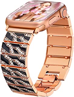 Compatible with Apple Watch Band 40mm 38mm Women Series 4 3 2 1 iWatch Bands Girls, Bling Feminine Dressy Crystal Bracelet Replacement Straps, Fresheracc Leopard Fashion Jewelry Wristband (Rose Gold)