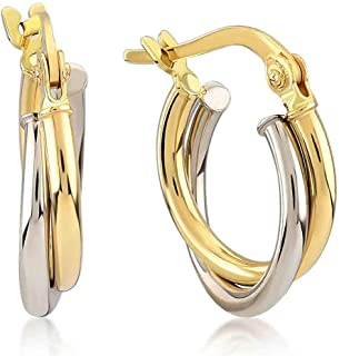 14k Yellow and White Gold Two Intertwined Circles Round 3 mm Tube Hoop Earrings for Women, Diameter 0.50