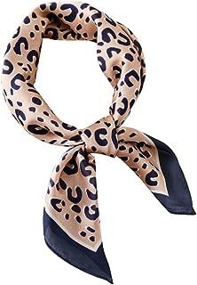 GERINLY Silk Hair Scarf Animal Print Leopard Neck Scarf Summer Neckerchief for Women
