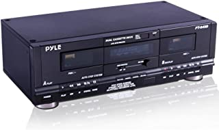 Pyle Home Digital Tuner Dual Cassette Deck | Media Player | Music Recording Device with RCA Cables | Switchable Rack Mount...
