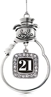 Inspired Silver - Sport Number 21 Charm Ornament - Silver Square Charm Snowman Ornament with Cubic Zirconia Jewelry