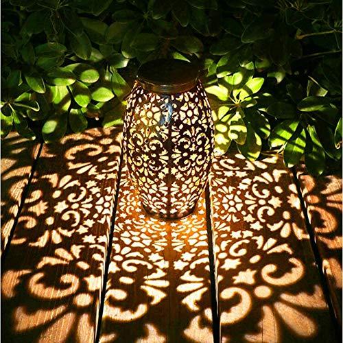 Faroles solares de jardín, colgantes luces solares al aire libre, lámparas de Metal ovaladas, lámparas de mesa de adorno hueco de Metal, lámparas de mesa LED impermeables
