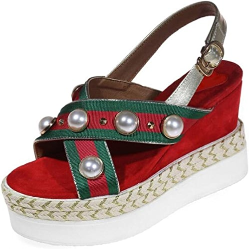 DANDANJIE Sandales pour Femmes été Pearl Décoration Talon compensé Open Toe chaussures pour Décontracté Date Shopping