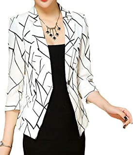 ee560413070 YYG Women 1 Button Lapel Collar Slim Fit Fashion Print Blazer Jacket Coat